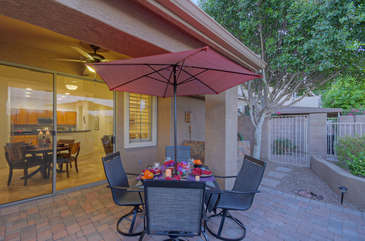 Cheers to the good life in sunny and warm Arizona on private patio