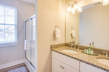 Master bathroom. Complimentary shower essentials provided