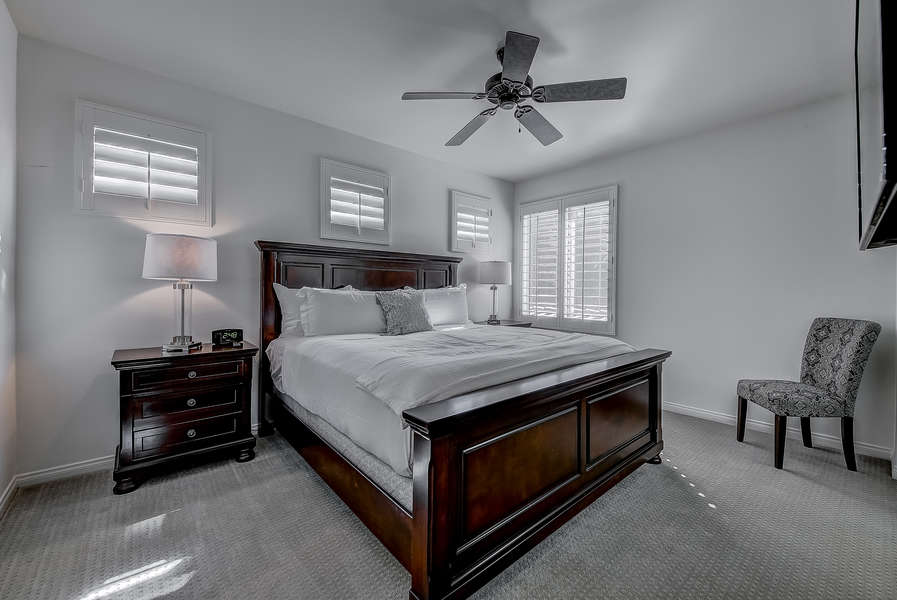 Upstairs guest bedroom 5 with king bed and en suite bath