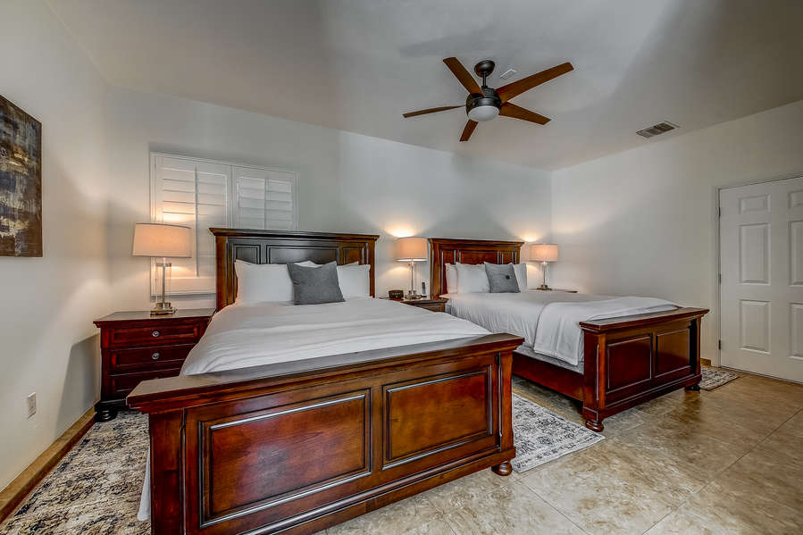 Detached casita bedroom 2 with 2 queen beds and en suite bath
