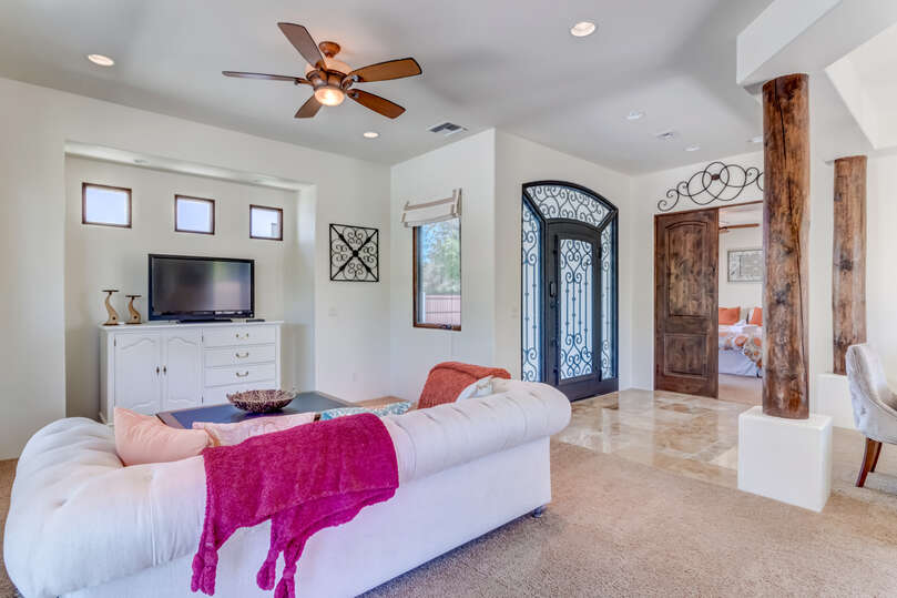 Welcoming you into the guest home is an open concept living area