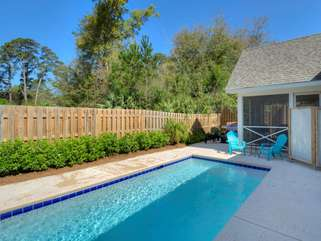 Saltwater dipping pool, fenced yard, screened porch, shower and gas grill