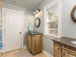 Jack and Jill Bath off of 2nd bedroom and access to game/rec room.  Tub/Shower