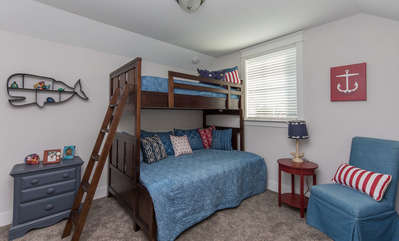 2nd Floor Bedroom with Twin Bunk over Full Sized Bed with Twin Trundle under