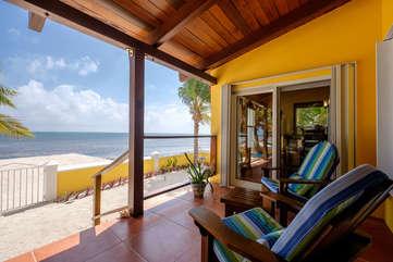 Casa De Bonita lower deck with private beach view
