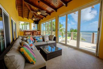 Casa De Bonita enclosed upper deck with an amazing beach view
