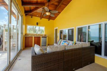 Casa De Bonita enclosed upper deck with beach view