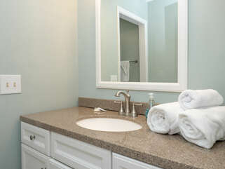 The master has an upgraded granite vanity.