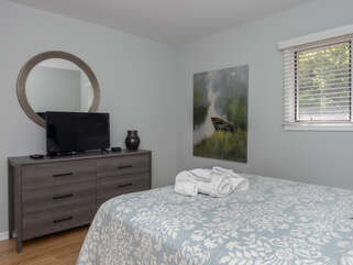 The first bedroom also features an HDTV.