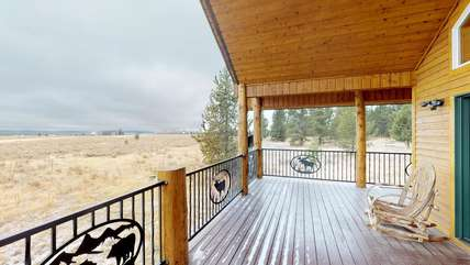 the front porch is the best place to relax and breathe in the fresh mountain air.