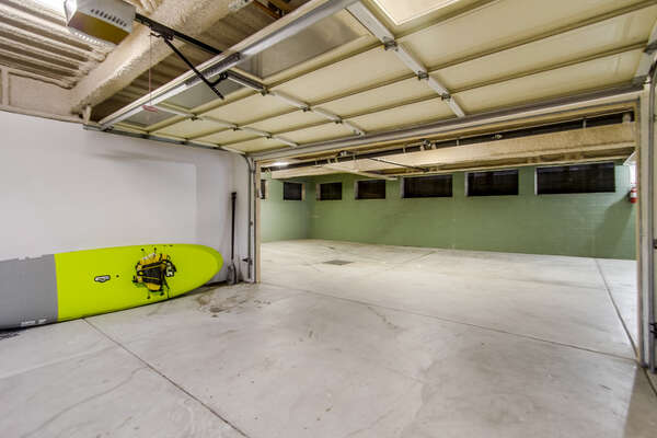 underground parking, private 2-car garage + beach items