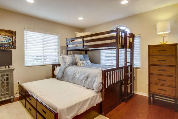2nd bedroom with twin over queen bunks and twin trundle