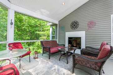 Screened-In Porch w/Fireplace