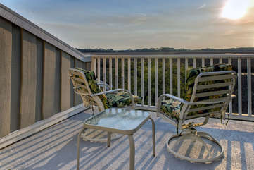 The deck off the master bedroom.  A perfect spot for a glass of wine at sunset.