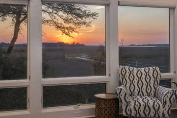 Enjoy picturesque sunsets and stunning marsh views from the great room.