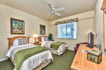 Twin Bedroom With Flat Screen TV;