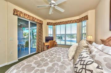 Master Bedroom Overlooking Lake;