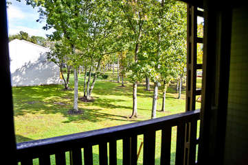 Courtyard view from deck outside of bedroom