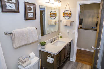Newly remodeled bathroom attached to second bedroom