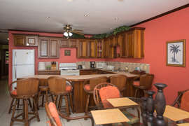 Open kitchen, breakfast and dining area