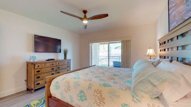 Master Bedroom with TV and Ceiling Fan