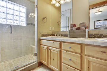 Lower level master bathroom with large shower
