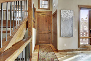 Front entry and foyer area with coat closet