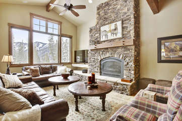 Huge main living area with amazing views of  the mountains and ski slopes