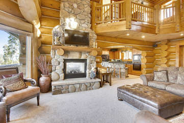 Beautiful 2 story stone fireplace with gas heat
