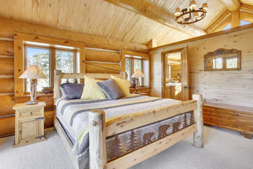 Upper master bedroom with vaulted ceilings