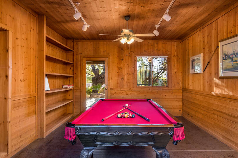 Pool Table Room and Walk Through Between Parking and the Entrance to the Pool Area