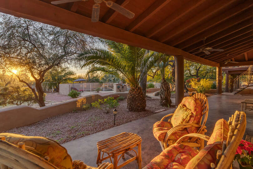 The Cabin Patio with Garden, Pool and Desert Views at Sunset.