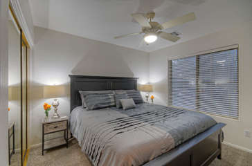 All 3 bedrooms are upstairs; 2nd bedroom has a king bed, double closet, television and ceiling fan