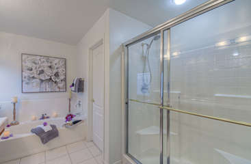 Large walk in shower in master suite is perfect for rinsing away desert sand or trail dust