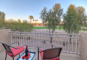 A romantic golf course view for 2 awaits you on private balcony attached to master suite