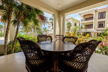 La Beliza 202 private deck with views of the white sand beaches
