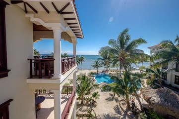 La Beliza 206 veranda view of white sandy beaches