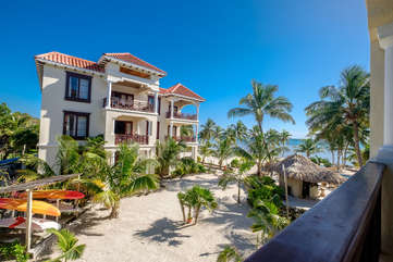 La Beliza 504 Veranda with 2nd floor view of beach, pool and grounds