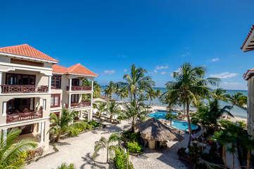 La Beliza 506 Veranda 3rd floor view of the beach, palms and warm Caribbean breeze