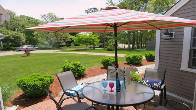 Enjoy outdoor dining with gas grill on front patio! - 33 Pine Grove West Harwich Cape Cod -  New England Vacation Rentals
