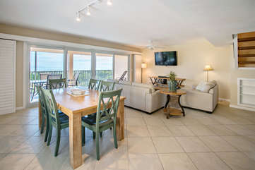 From the dining area overlooking the living room.