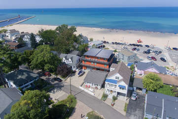 North Beach Aerial Photo  with Lighthouse to the South.  The Hideout is in the heart of North Beach with access through the back gate