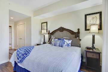 View of the master bedroom with king size bed