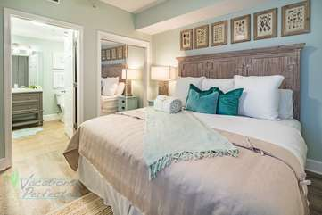 Elegant master bedroom consist of a king size bed with closet. Attached is the bathroom.