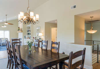 The dining area flows from the kitchen into the great room.