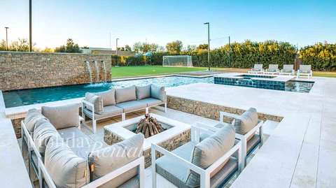 Enjoy a fire by the pool and private soccer field