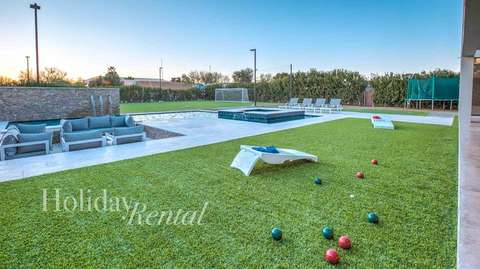 So many games in this huge yard! Pool views and backyard games (trampoline no longer available)
