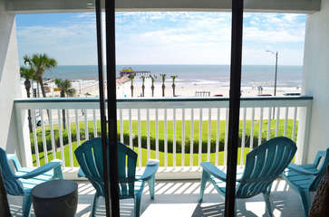 Enjoy this top floor front row view! See the ocean as soon as you walk in the front door! Amazing view in an incredible new condo!!
