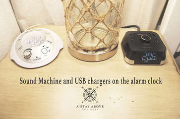 Sound machine and an alarm clock with USB chargers to make your stay easy and