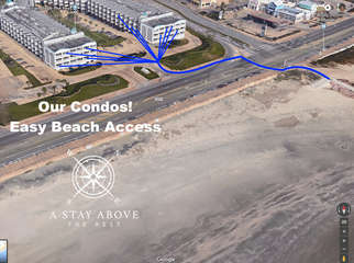 It is a very short and easy walk!  The crosswalk goes straight onto beach access and the Pier at 61st and Seawall!